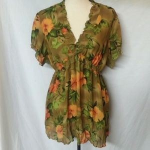 Allison Taylor Sheer Tunic Blouse Size XL